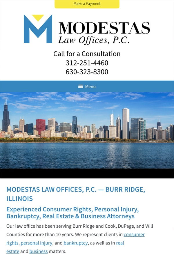 Mobile Friendly Law Firm Webiste for Modestas Law Offices, P.C.
