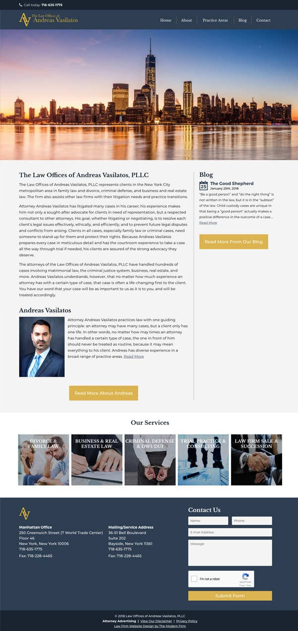 Law Firm Website Design for Law Offices of Andreas Vasilatos, PLLC