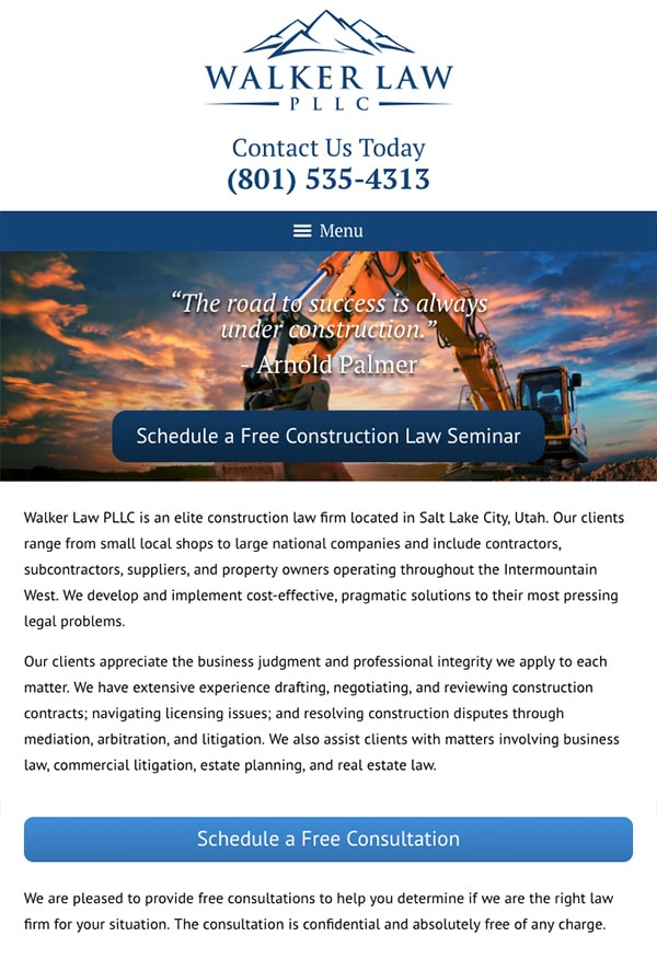 Mobile Friendly Law Firm Webiste for Walker Law PLLC