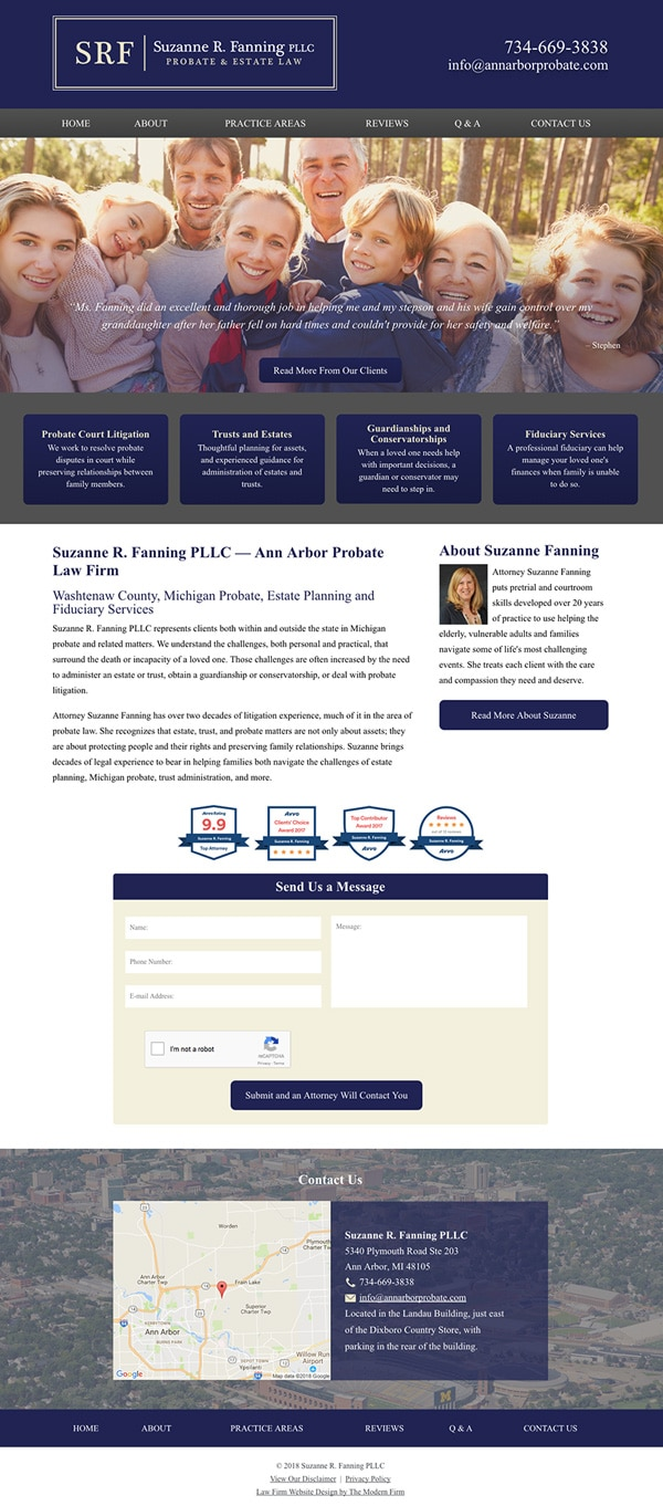 Law Firm Website Design for Suzanne R. Fanning PLLC