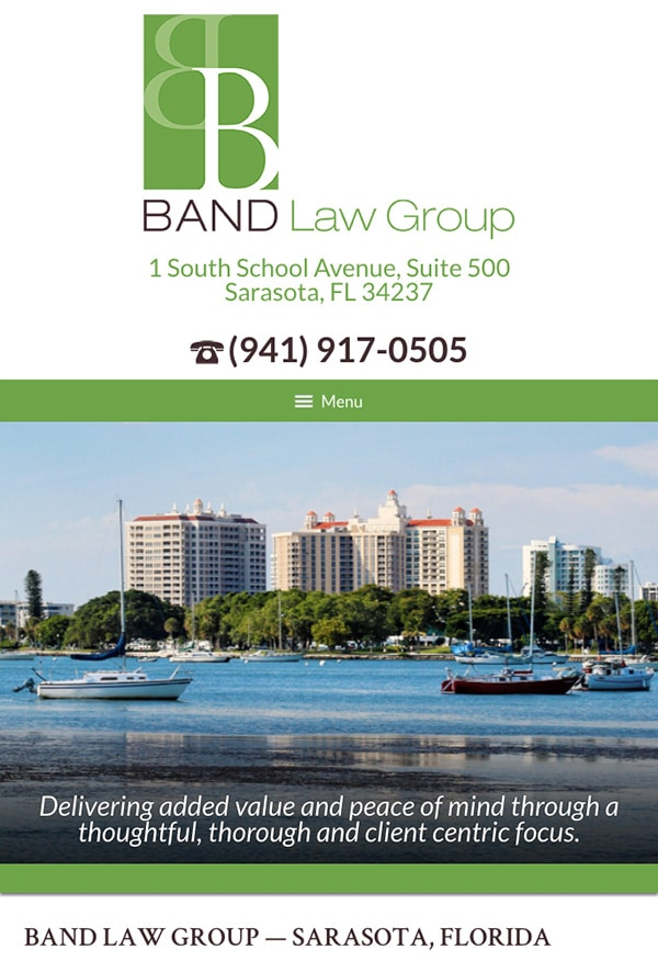 Mobile Friendly Law Firm Webiste for Band Law Group