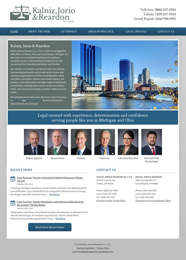 Law Firm Website Design for Kalniz, Iorio & Reardon Co. L.P.A.