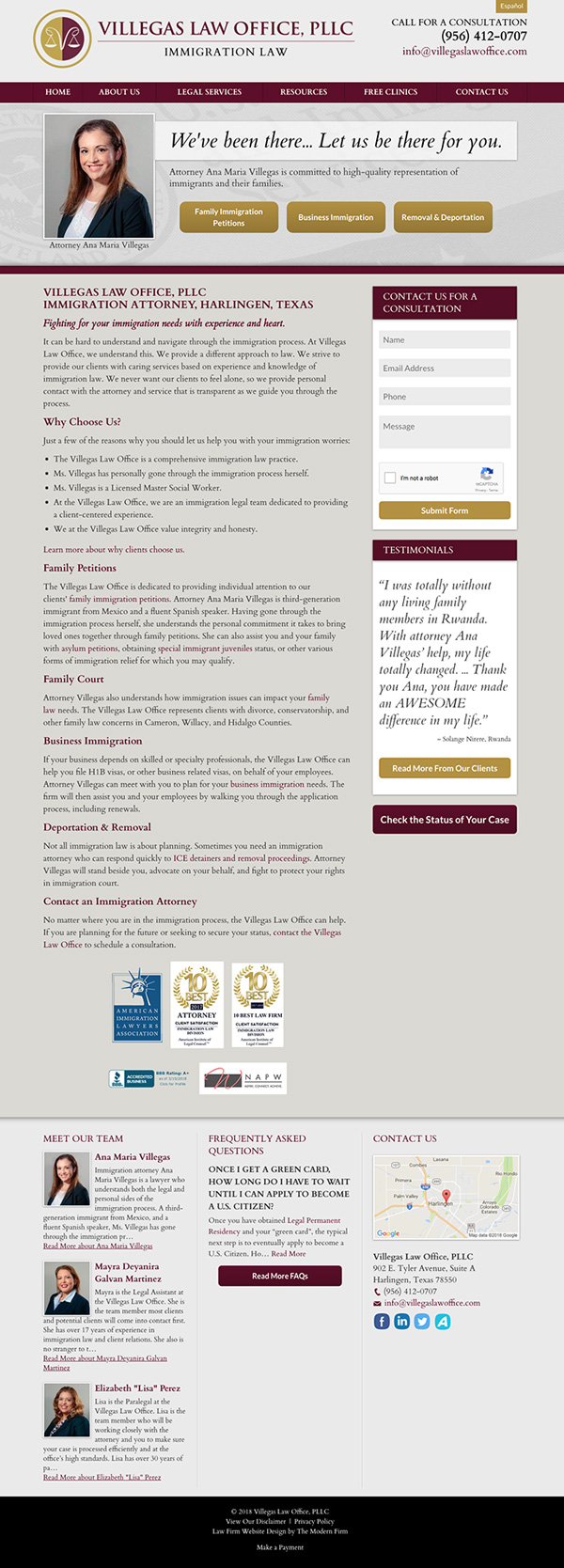 Law Firm Website Design for Villegas Law Office, PLLC