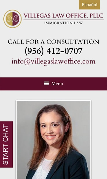 Responsive Mobile Attorney Website for Villegas Law Office, PLLC