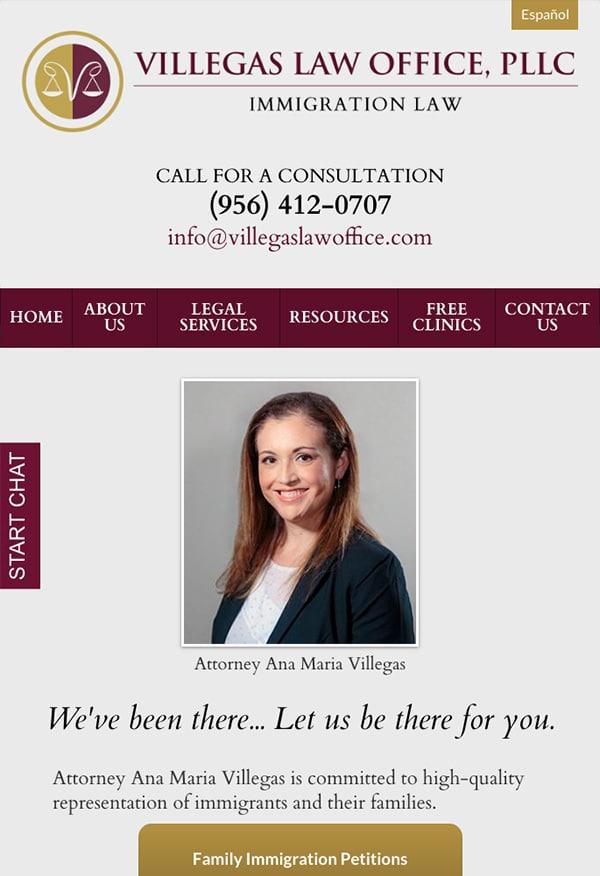 Mobile Friendly Law Firm Webiste for Villegas Law Office, PLLC