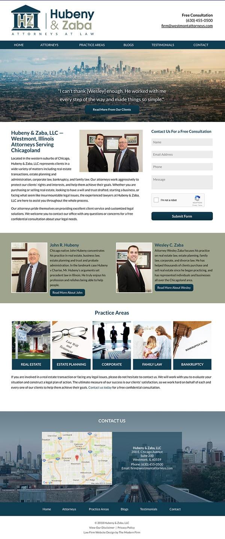 Law Firm Website Design for Hubeny & Zaba, LLC