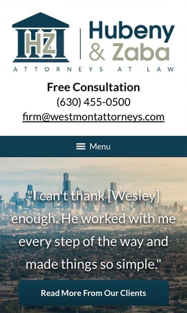 Responsive Mobile Attorney Website for Hubeny & Zaba, LLC