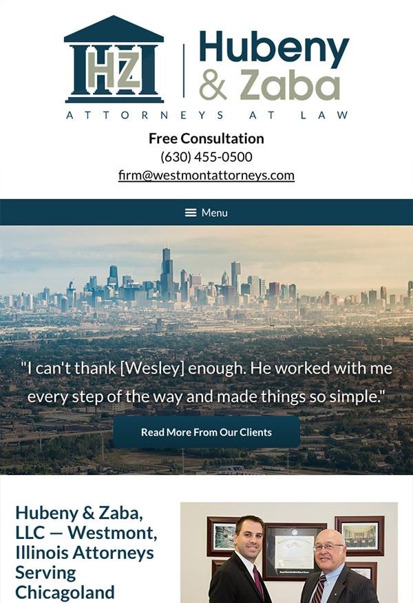 Mobile Friendly Law Firm Webiste for Hubeny & Zaba, LLC