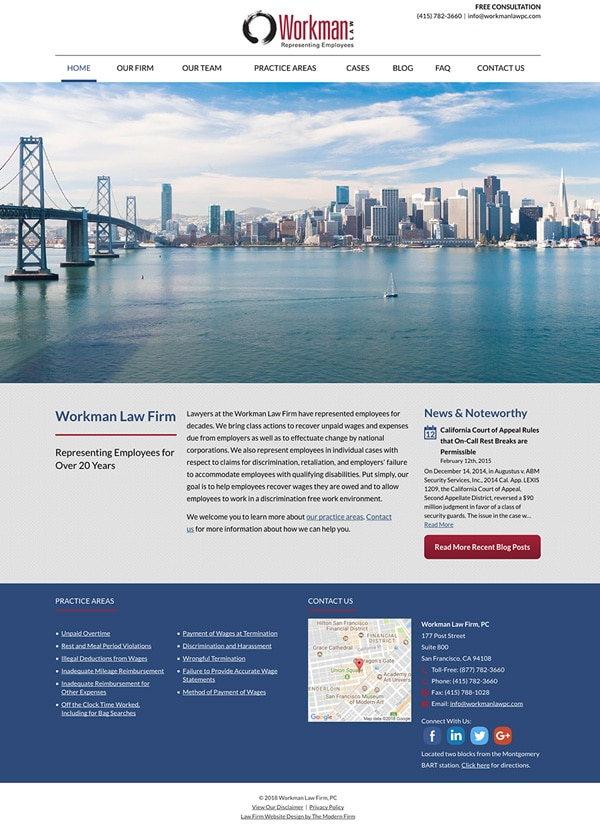 Law Firm Website Design for Workman Law Firm, PC
