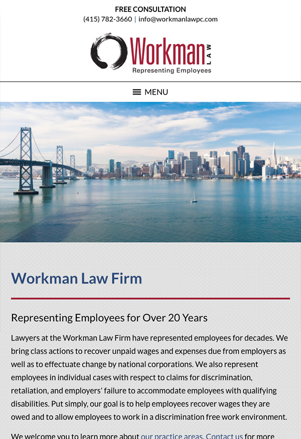 Mobile Friendly Law Firm Webiste for Workman Law Firm, PC