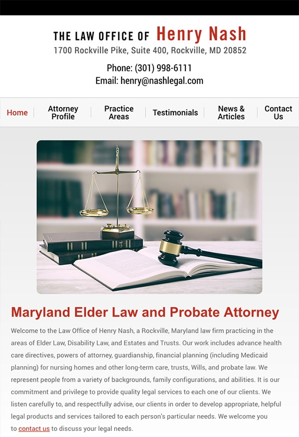 Mobile Friendly Law Firm Webiste for Law Office of Henry Nash