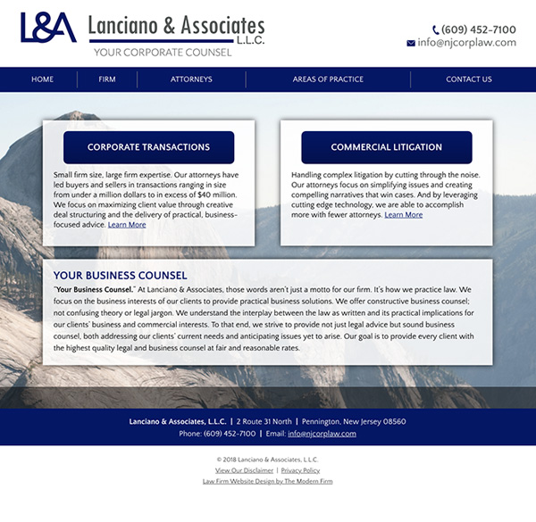 Law Firm Website Design for Lanciano & Associates, L.L.C.