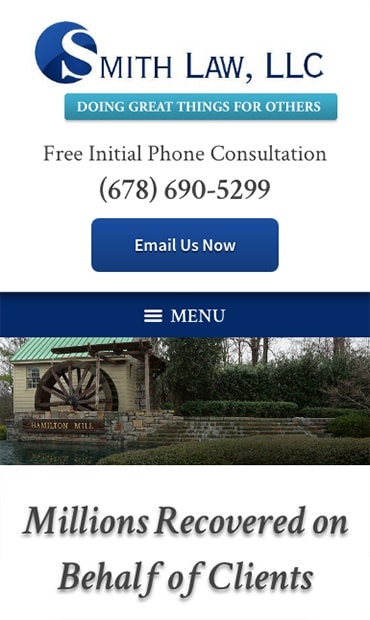 Responsive Mobile Attorney Website for SMITH LAW, LLC
