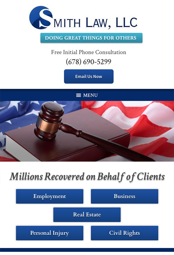 Mobile Friendly Law Firm Webiste for SMITH LAW, LLC