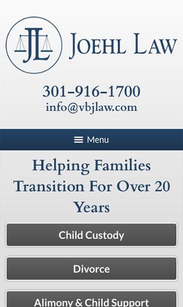 Responsive Mobile Attorney Website for Joehl Law