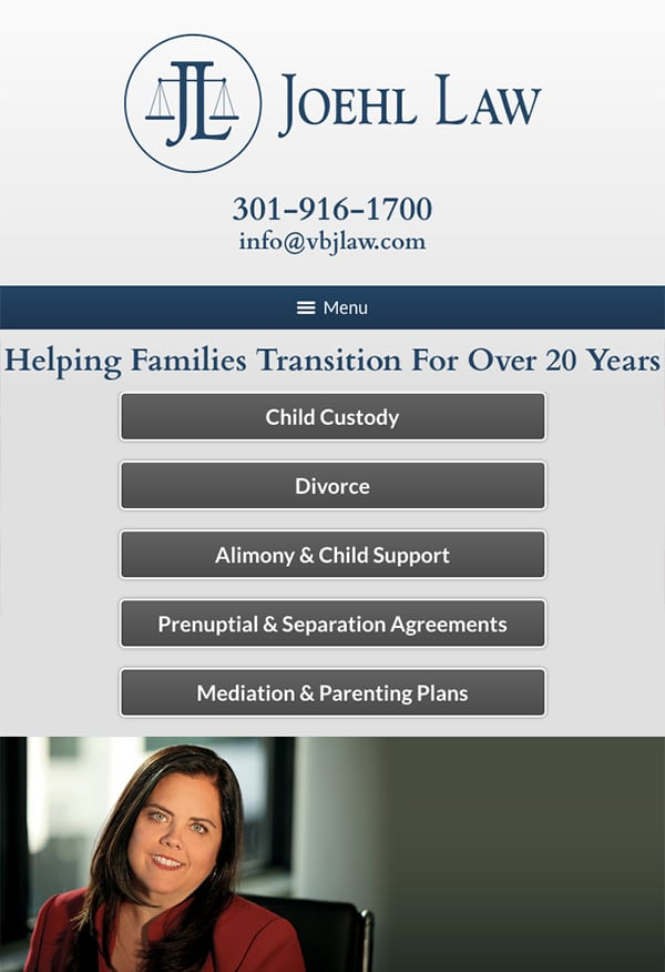 Mobile Friendly Law Firm Webiste for Joehl Law