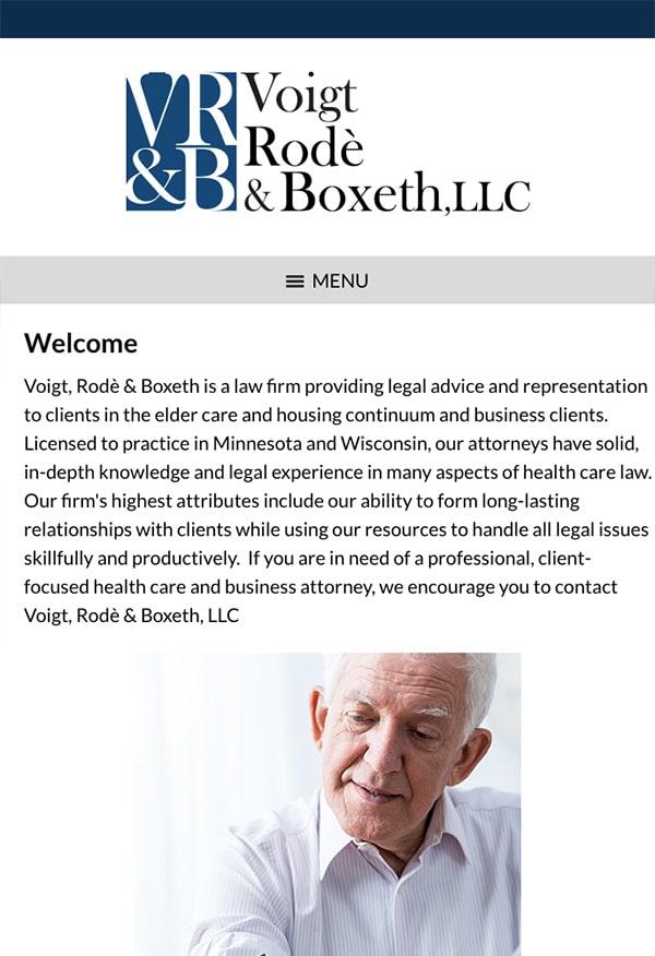 Mobile Friendly Law Firm Webiste for Voigt, Rode & Boxeth LLC