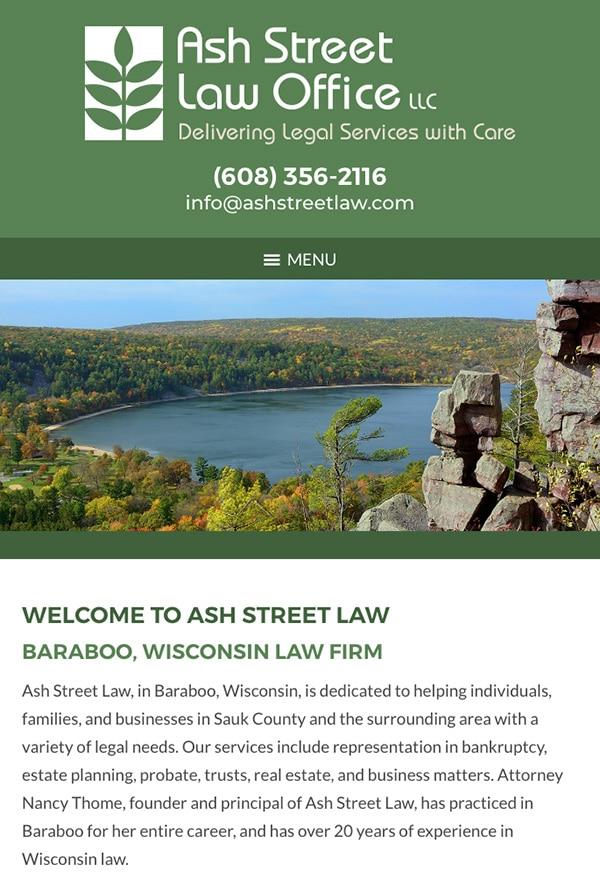 Mobile Friendly Law Firm Webiste for Ash Street Law Office LLC