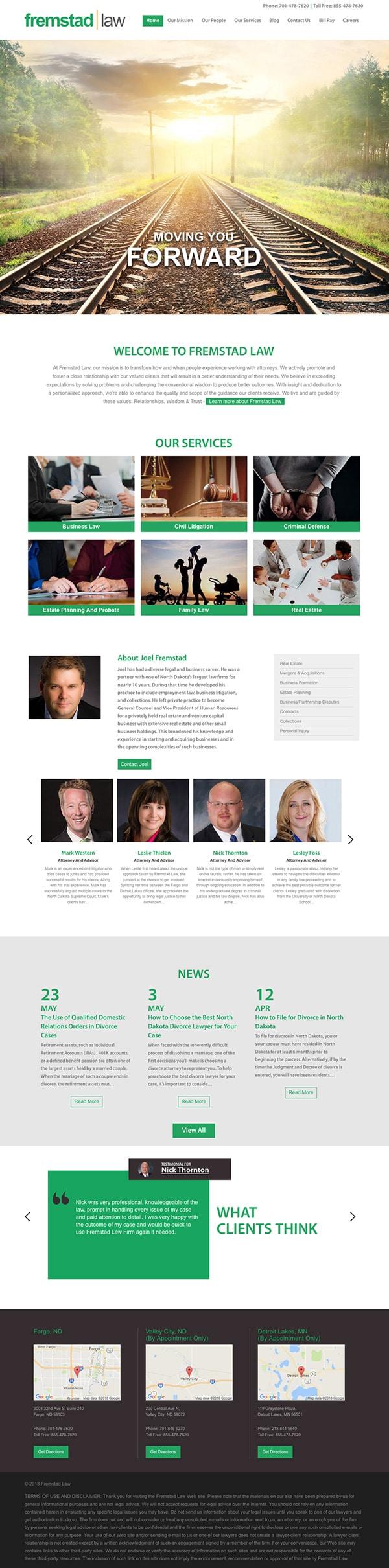 Law Firm Website Design for Fremstad Law