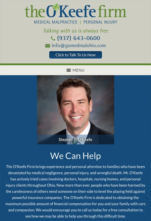 Mobile Friendly Law Firm Webiste for The O'Keefe Firm