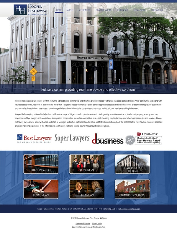 Law Firm Website Design for Hooper Hathaway Price Beuche & Wallace