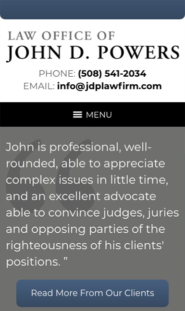 Responsive Mobile Attorney Website for Law Office of John D. Powers