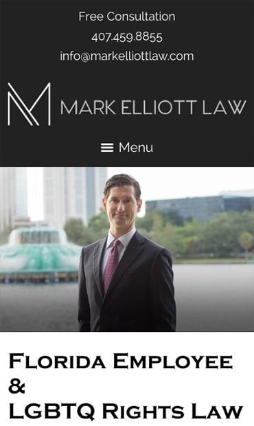 Responsive Mobile Attorney Website for Mark Elliott Law