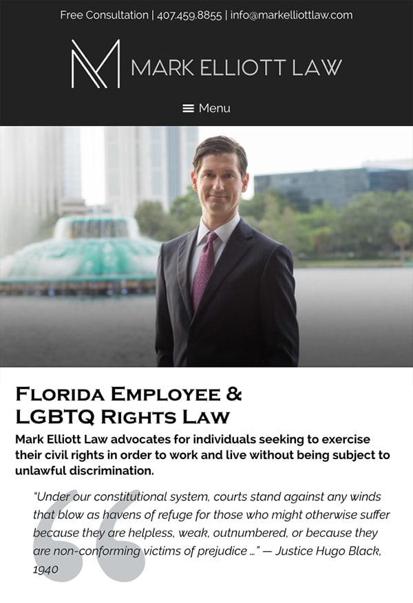 Mobile Friendly Law Firm Webiste for Mark Elliott Law