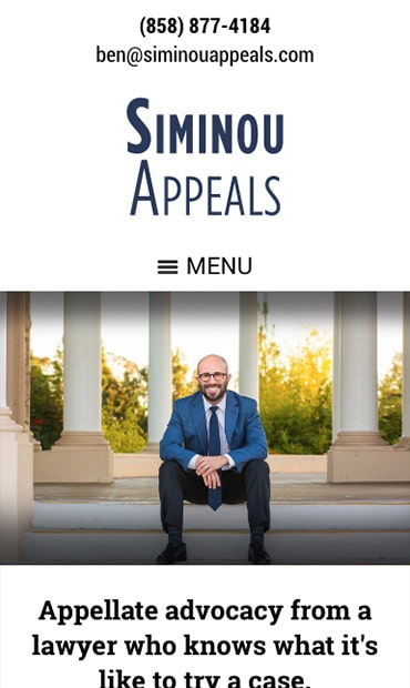 Responsive Mobile Attorney Website for Siminou Appeals, Inc.