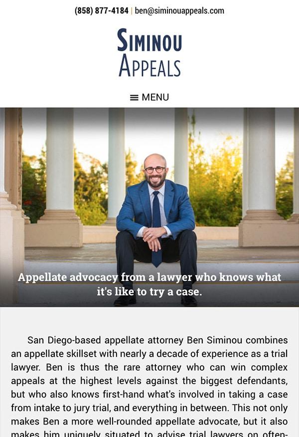 Mobile Friendly Law Firm Webiste for Siminou Appeals, Inc.