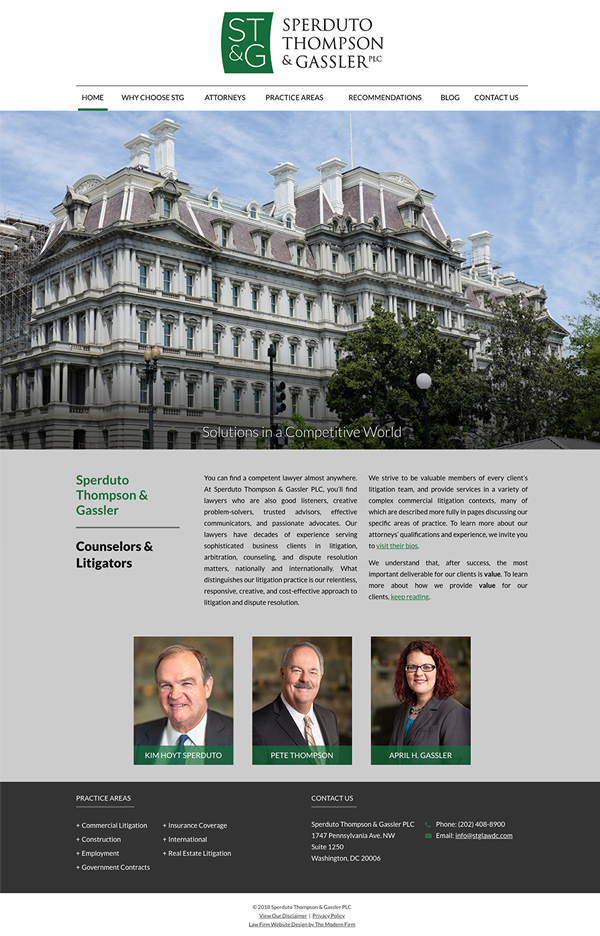Law Firm Website Design for Sperduto Thompson & Gassler PLC
