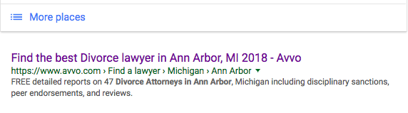 """Avvo is number 1 organically for """"best ann arbor divorce attorney"""""""