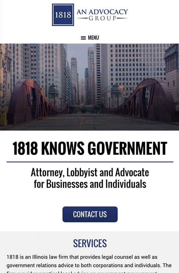 Mobile Friendly Law Firm Webiste for 1818 - An Advocacy Group