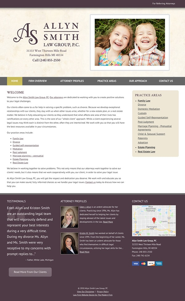 Law Firm Website Design for Allyn Smith Law Group, PC