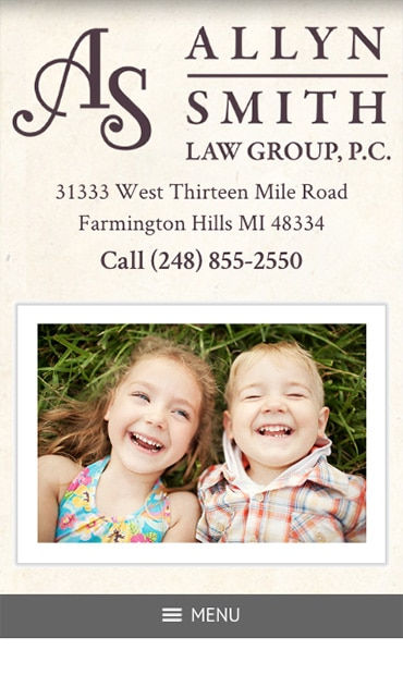 Responsive Mobile Attorney Website for Allyn Smith Law Group, PC