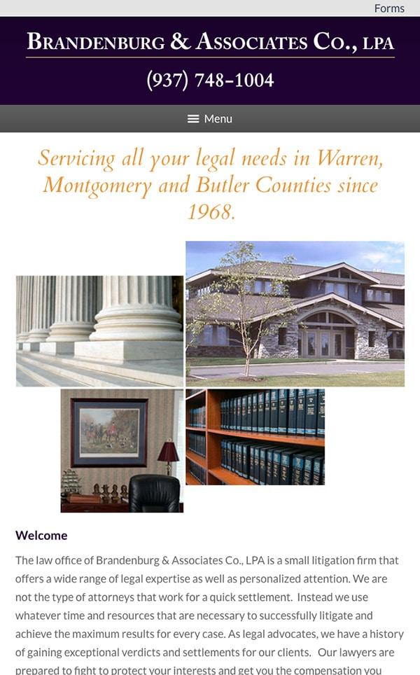 Mobile Friendly Law Firm Webiste for Brandenburg & Associates Co., LPA