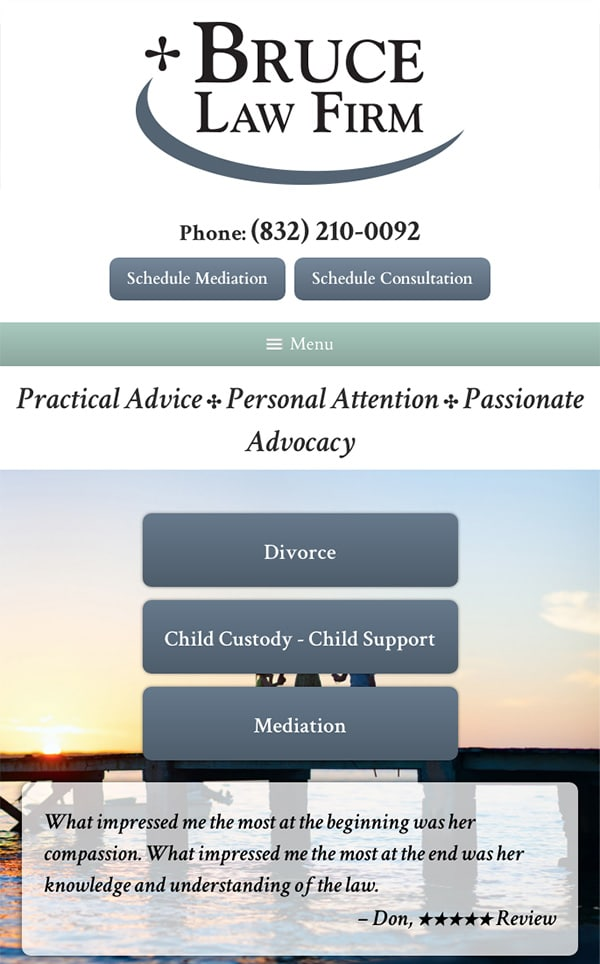 Mobile Friendly Law Firm Webiste for Bruce Law Firm, P.C.