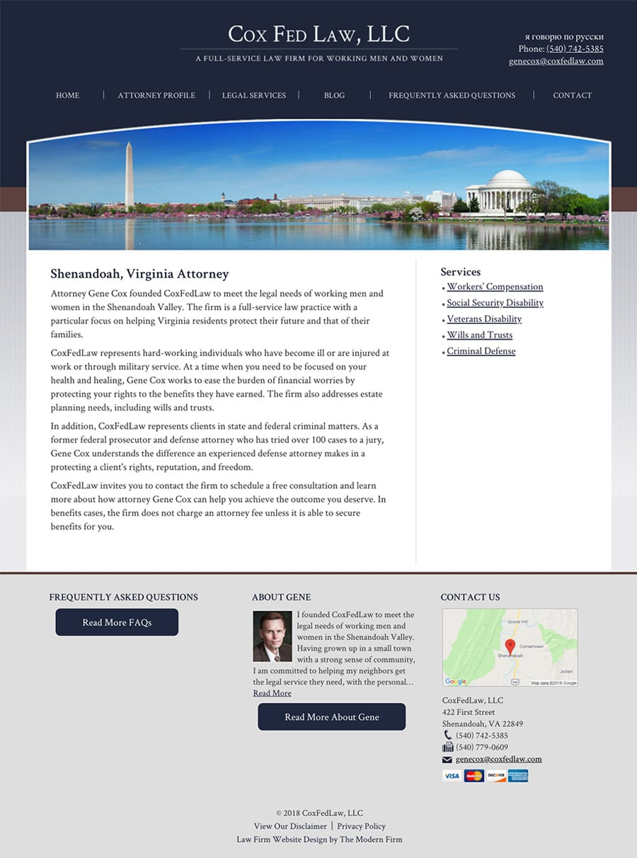 Law Firm Website Design for Cox Fed Law, LLC