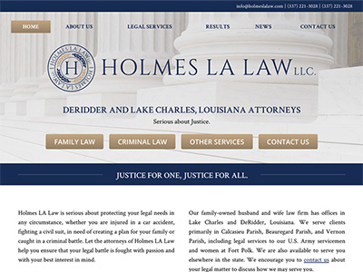 Law Firm Website design for Holmes LA Law, LLC