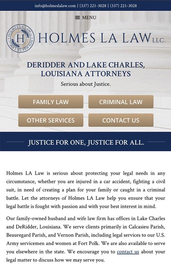 Mobile Friendly Law Firm Webiste for Holmes LA Law, LLC