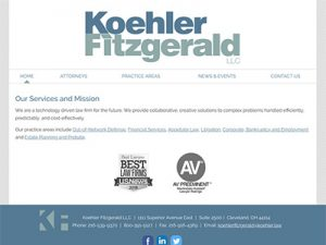 Ohio Law Firm Website for Koehler Fitzgerald