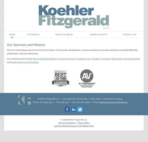 Law Firm Website Design for Koehler Fitzgerald LLC