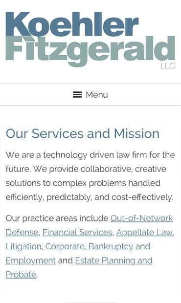 Responsive Mobile Attorney Website for Koehler Fitzgerald LLC