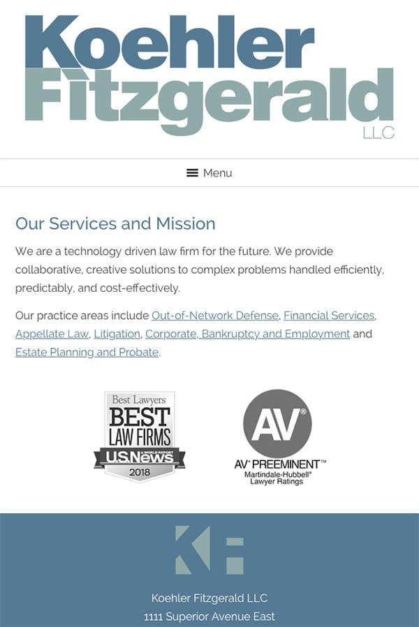 Mobile Friendly Law Firm Webiste for Koehler Fitzgerald LLC