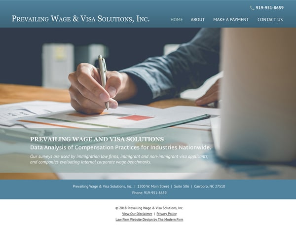 Law Firm Website Design for Prevailing Wage & Visa Solutions, Inc.