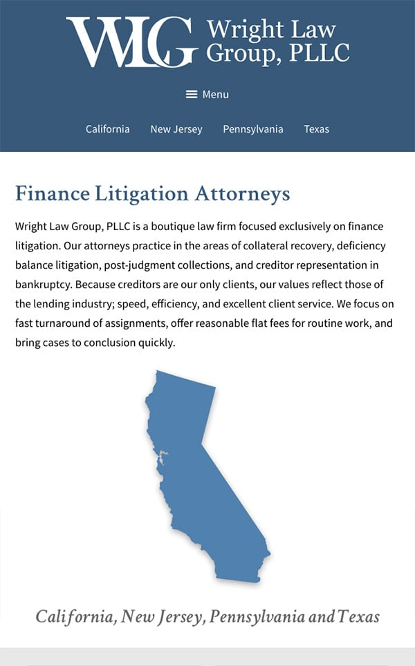 Mobile Friendly Law Firm Webiste for Wright Law Group, PLLC