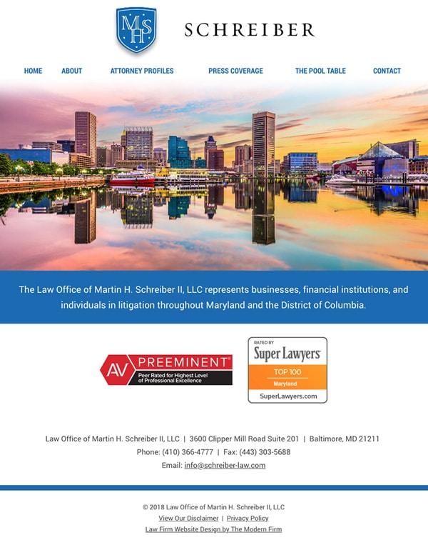Law Firm Website Design for Law Office of Martin H. Schreiber II, LLC