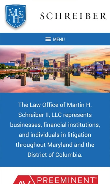 Responsive Mobile Attorney Website for Law Office of Martin H. Schreiber II, LLC