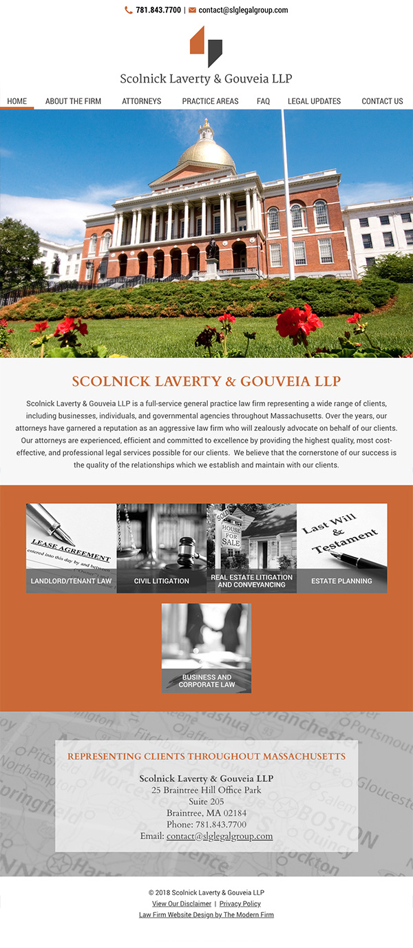 Law Firm Website Design for Scolnick Laverty & Gouveia LLP