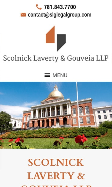 Responsive Mobile Attorney Website for Scolnick Laverty & Gouveia LLP